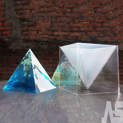 NEW Pyramid Silicone Mould DIY Resin Craft Jewelry Making Mold + Plastic Frame