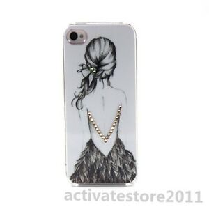 Backless Clear Crystal Bling Diamond Hard Back Cover Case For Iphone 4 4G 4GS 4S
