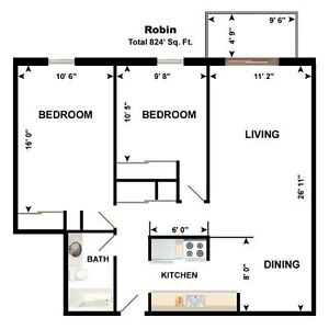 Bright Spacious, Downtown 2 Bedroom