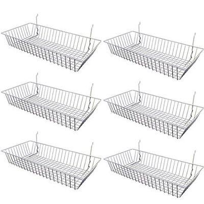 6 Pcs - 24 X 12 X 4 Baskets For Gridwallslatwallpegboard - Chrome