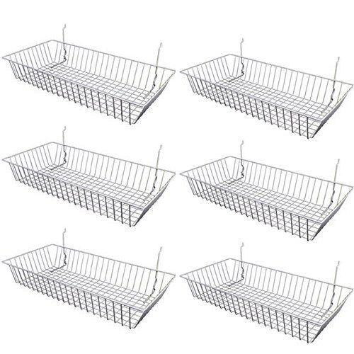"6 pcs - 24"" x 12"" x 4"" Baskets for Gridwall/Slatwall/Pegboard - CHROME"