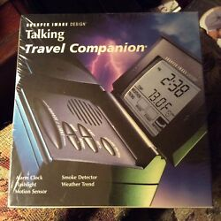 SHARPER IMAGE Talking Travel Companion Alarm Clock Flashlight Motion Sensor New