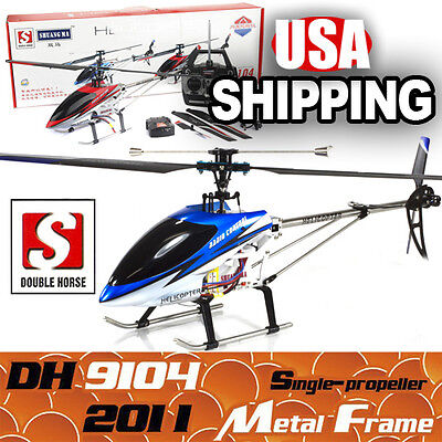 "28"" Double Horse DH9104 3CH Radio Control Single Blade RC Helicopter Gyro Blue on Rummage"