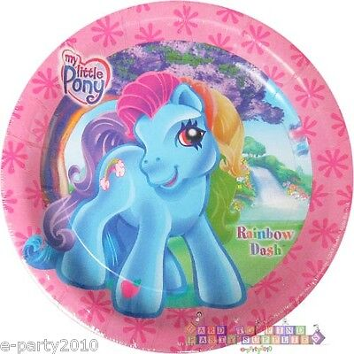 MY LITTLE PONY Rainbow Dash LARGE PAPER PLATES (8) ~ Birthday Party Supplies Vtg