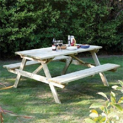 Wooden Picnic Table - Rowlinson Garden Products Wood Picnic Table and Bench 5' A110