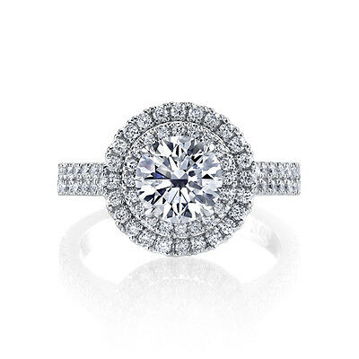 1.80 Ct. Round Cut Double Halo Micro Pave Diamond Engagement Ring GIA Certified