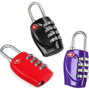 2 X Multicolor 4 Dial TSA Combination Padlock Resettable Luggage Travel Lock