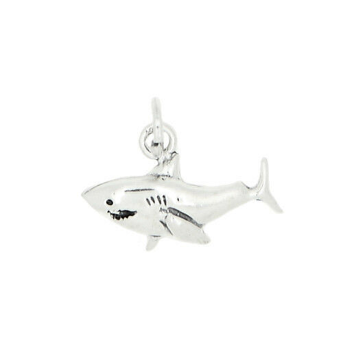 SILVER ONE SIDED SHARK CHARM OR PENDANT