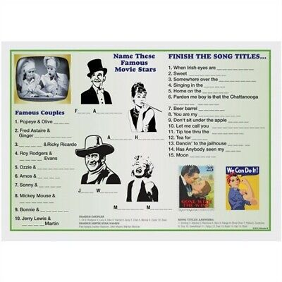 Old Hollywood Decor (Old Hollywood Movies Paper Placemats Memory Care #3 Paperware Party)