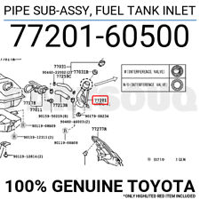 7720160500 Genuine Toyota PIPE SUB-ASSY, FUEL TANK INLET