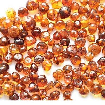 Raw Natural Baltic Amber Loose Polished Beads Boraque 25 Pcs Color Cognac