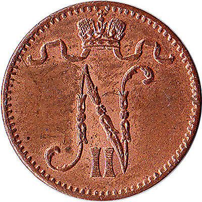 1913 Finland (Russian) 1 Penni Coin Nicholas II KM#13