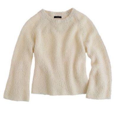 THE ELDER STATESMAN J.CREW Cashmere Boucle Bell Sleeve Crop Sweater Cream $498 M