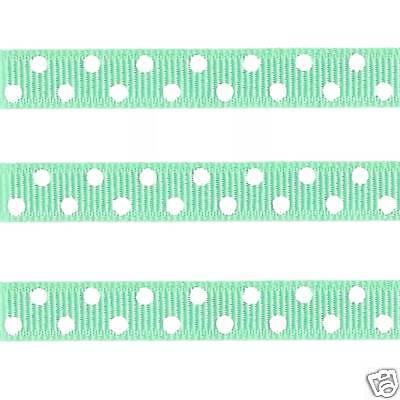 5 yds 3/8 MINT GREEN CONFETTI DOT GROSGRAIN RIBBON - Mint Green Ribbon