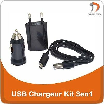 USB chargeur Voiture 3en1 charger 3in1 Auto oplader Compatible Samsung microUSB