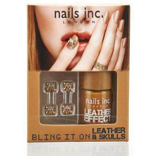 Nails Inc Bling It On Tan Leather Effect Nail Polish Varnish - Crystal Skulls