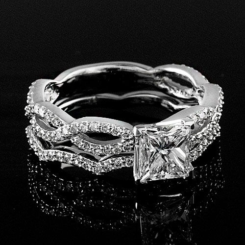 1.90 CT PRINCESS CUT DIAMOND HALO ENGAGEMENT RING 14K WHITE GOLD