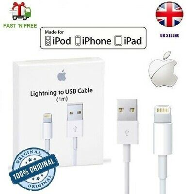 iPhone Charger Cable - Apple Lightning Sync USB Lead 8 7P 6s 5 X XS Max Boxed 1M