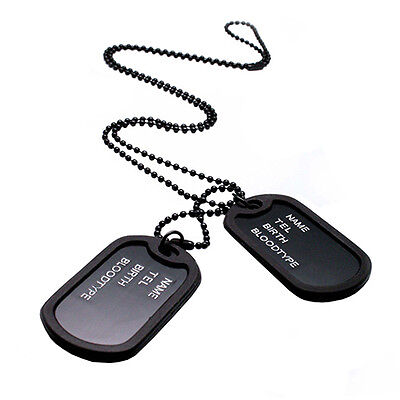 Mens Interesting Military Army Style Black 2 Dog Tags Chain Pendant Necklace