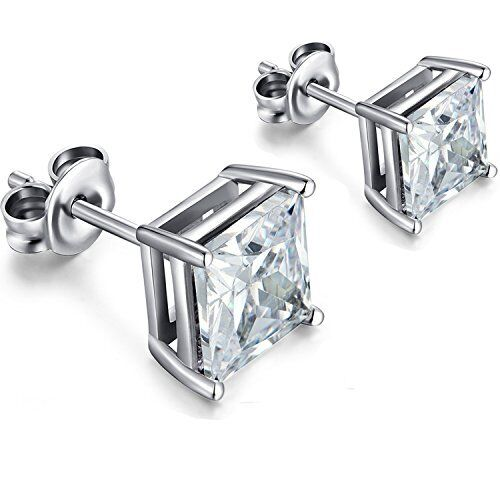 Jewellery - Sterling Silver Stud Earrings Cubic Zirconia Round Men Women 2PC CZ Earrings Set