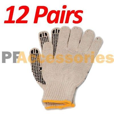 - 12 Pairs Cotton PVC Dots String Knit Work Gloves Size L for Industrial Warehouse