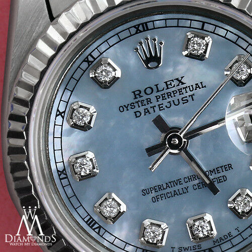 Rolex 26mm Datejust Baby Blue Mop Diamond Accent Dial 18k White Gold & Ss Watch