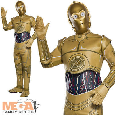 3po Costume (C-3PO Mens Fancy Dress Star Wars Disney Movie Robot Droid Adults Costume)