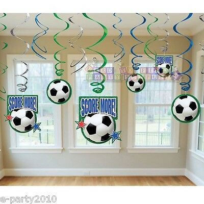 SOCCER BALL SWIRL DECORATIONS (12) ~ Birthday Party Supplies Sports Score More