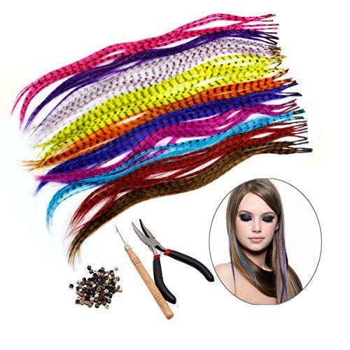 HQdeal Synthetic Hair Extension Kits with 52 Synthetic Assorted Colors Stick Tip