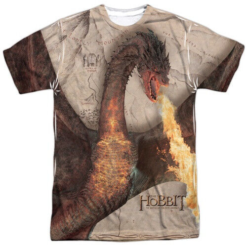 The Hobbit Smaug Attack Sublimation Front & Back Print T-Shirt Size 2X NEW