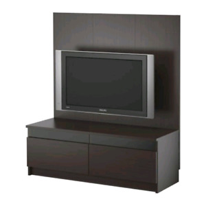 Ikea TV bench with panel and tv wall mount