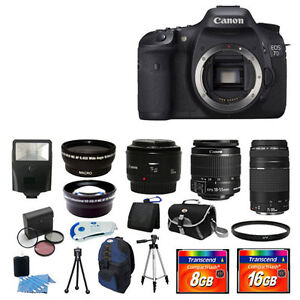 Canon EOS 7D Camera + 5 Lens Kit 18-55 + 55-250 + 50mm 24GB Digital SLR BIG Kit