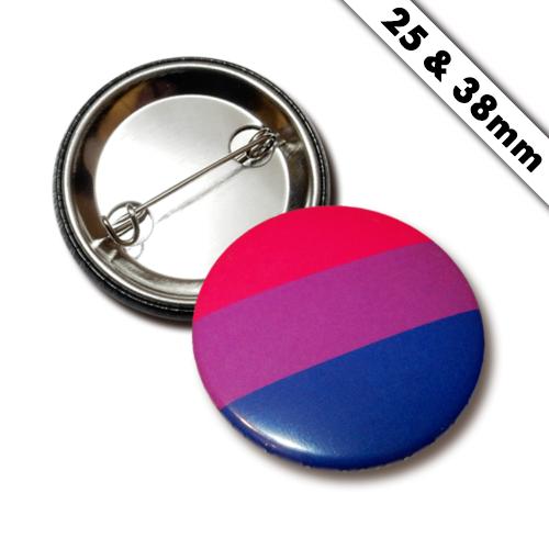 Bi Pride Button, Anstecker, Pin, Badge, 38mm / 25mm, Flagge, LGBTQ +, Liebe