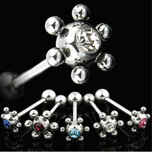 T#56 - 5pcs Atom Ball Gem Tongue Rings 14g tounge