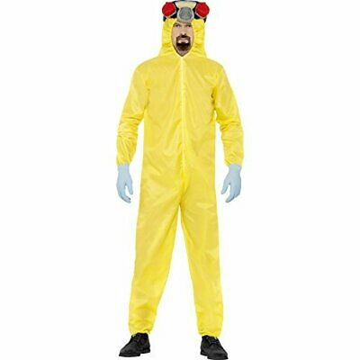 Breaking Bad Costume, Yellow, with Hazmat Suit, Latex Mask, Gloves .. COST-M NEW