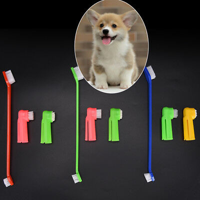 3Pcs/set Pet Finger Toothbrush Dog Breath Double Head Teeth Care Cat Cleaning PN