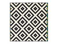 """IKEA geometric black and white rug 6 ' 7 """"x6 ' 7 """""""