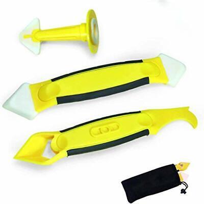 Crenics 3 Pieces Caulking Tool KitYellow Silicone Sealant Finishing and Repla...