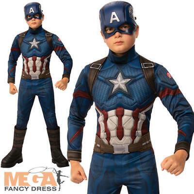 Deluxe Captain America Boys Fancy Dress Avengers Endgame Superhero Kids Costume