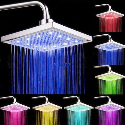 Led Light Square Rain Shower Head Stainless Steel 7Color Changing Hottestlaus