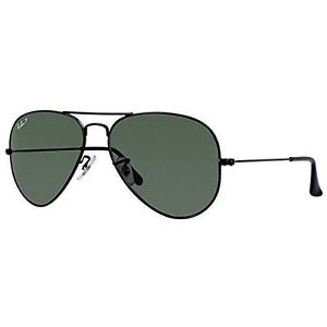 67b7e230aab9b Ray-Ban RB 3025 002 58 Aviator Polarized Green 58mm Lens Black Frame ...
