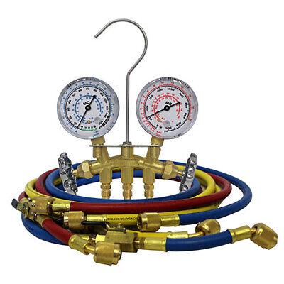 Mastercool 32661 R12 2-way Brass Manifold Gauge Set W3-60 Hoses
