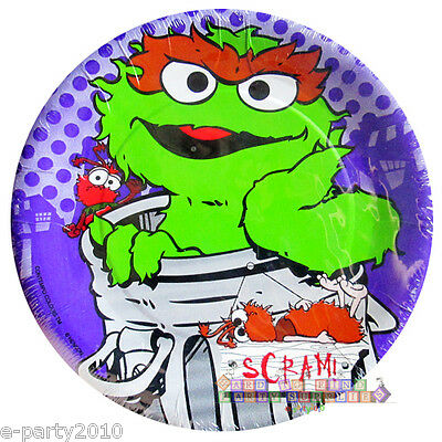 SESAME STREET Oscar the Grouch SMALL PAPER PLATES (8) ~ Birthday Party - Oscar Party Supplies