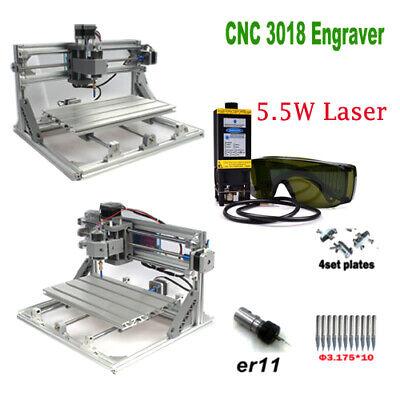 Cnc 3018 Engraver Router 5.5w Laser Module Carving Milling Cutting Diy Machine