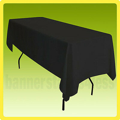 70x120 POLYESTER Rectangle Wedding Banquet Event Table Cover Tablecloth - BLACK