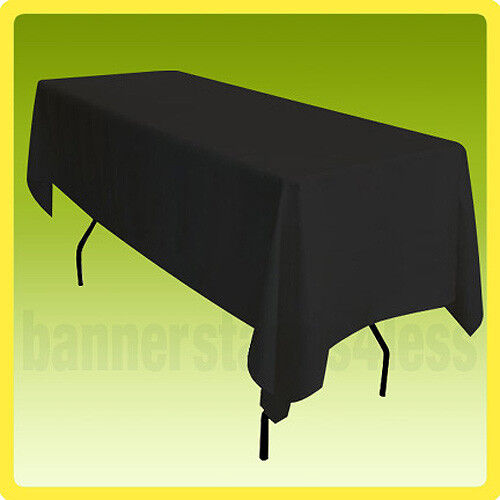 60x102 Tablecloth Table Cover Rectangle Wedding Banquet Event POLYESTER - BLACK