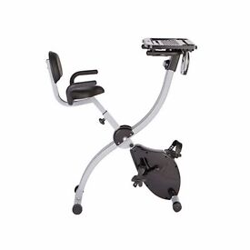 Work & Ride Exercise Bike with Work Tray, Back Support and Pulse Sensors