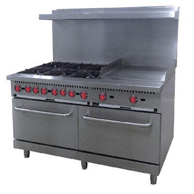 Central Restaurant 60 6 Burner Lp Gas Range 24 Griddle Casters Oven Rack