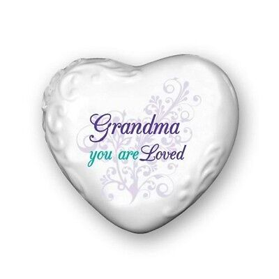 """Porcelain Message Heart - """"Grandma you are Loved"""" - in Gift Box"""