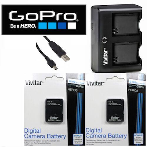 2X Battery for GoPro HERO3 SILVER AHDBT-302 AHDBT-301 + USB